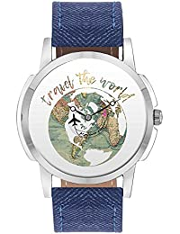 Travel Watch - BigOwl Travel The World Airplane World Map Design Leather Strap Casual Wrist Watch For Men - Perfect...