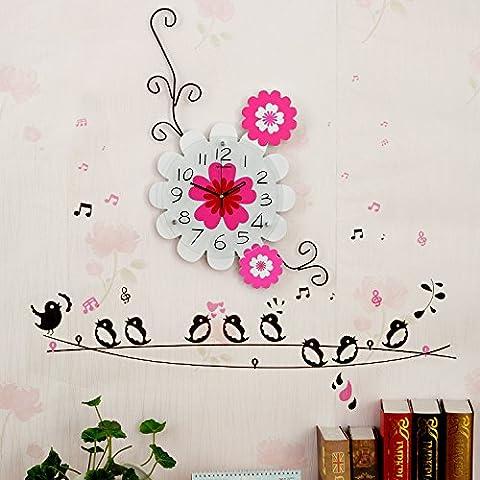 Henggang Il canto degli uccelli e fiori profumati cat mangiare pesce Home Office Decor moda creativa lo stile di vita moderno decor colorato e singolare dono Mute orologio da parete - Non Disturbare Cat