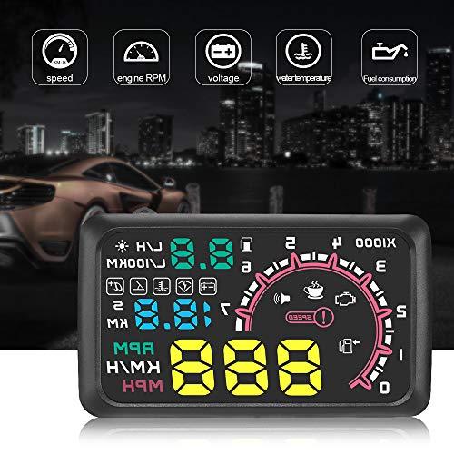 YOUNG4 W02 Universal Auto HUD Head Up Display Digital GPS Tacho mit Beschleunigungstest Bremstest Überdrehzahlalarm TFT LCD Display HD Umrüstcode Tabellendisplay für alle Fahrzeuge