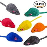 Yangbaga Ratones de Juguete para Gatos 14 pc Juguetes Gatos Ratón en Color del Arco Iris - 7 Colores