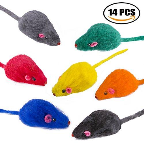 Yangbaga Ratones de Juguete para Gatos 14 pc Juguetes Gatos Ratón en Color del...