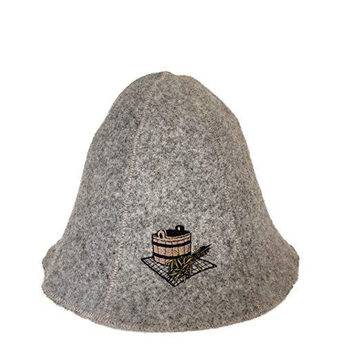 Ger3as Saunahut Wolle mit Stickerei für Damen und Herren, Wellness Mütze Premium Qualität (Bad Saunakübel) (Leichtes Salz Kostüm)
