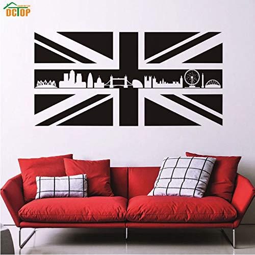Smntt Dctop Klebstoff Vinyl Abnehmbare Union Jack Flag Gebäude Wandaufkleber Für Sofa Hintergrund Wohnzimmer Dekoration Zubehör (Gebäude Jacks)
