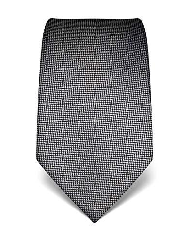 ren Krawatte reine Seide strukturiert edel Männer-Design zum Hemd mit Anzug für Business Hochzeit 8 cm schmal/breit silber ()