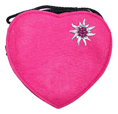 Herz Trachtentasche mit Edelweiß Pink
