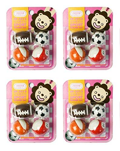 Emartbuy Packung Mit 4 Radiergummis Gummi, Sport Bälle - Rosa Beläge Für Die Schule