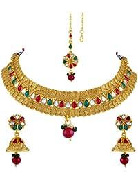 Asmitta Amazing Jalebi Shape Gold Plated Choker Style Necklace Set With Mangtikka For Women