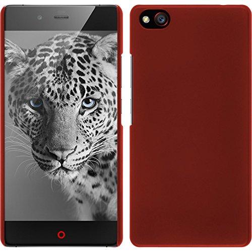 PhoneNatic Case kompatibel mit ZTE Nubia Z9 Max - Hülle rot gummiert Hard-case + 2 Schutzfolien