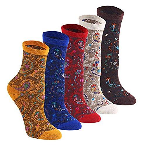 FULIER 5 Pack Frauen Mädchen Farbmuster Retro-Design Baumwolle Rich Socken, bequem, gemütlich, schön (Länge Diabetiker Für Socken)