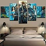 JSBVM Accueil Art Mural Décor Toile Image Impression HD 5 Panneaux Film Pirates des...