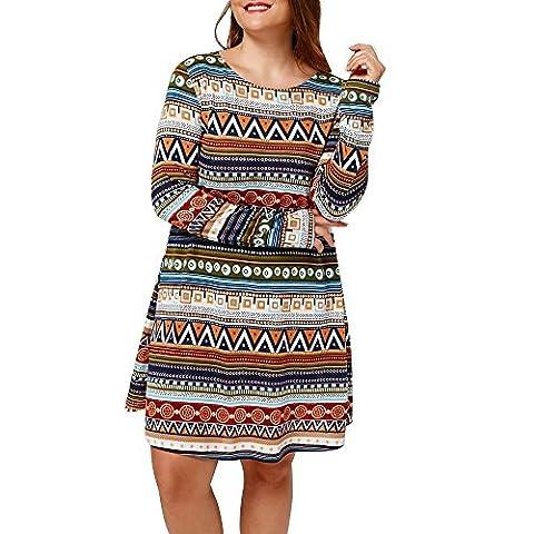 YunYoud Damen Große Größe Kleid Retro Gedruckt Abendliche Feier Kleid