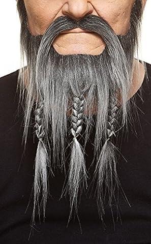 Barbe Capitain Crochet avec tresses et moustache poivre et sel