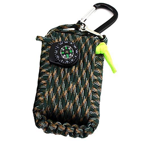 Kit de survie d'urgence, 29 en 1 Ensembles de premiers soins de la grenade Paracord Mini-sifflet Ensemble de démarrage du pompier Survival Baits Compass(Vert Camouflage)