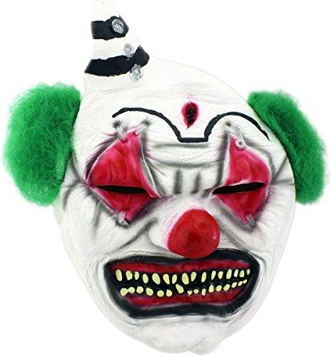 Horror Clown Halloween Maske Clownmaske green Hair mit aus Latex (Kostüme Einbrecher Halloween)