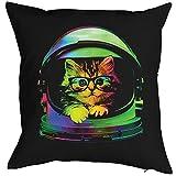 Katzen Kissenbezug - Raumfahrt Kätzchen mit Brille Katze lustig buntes Portrait Neon Pop Art Motiv Space Kitten - Motiv Kissenhülle Deko 40x40cm schwarz : )