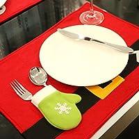 Oyedens di Babbo Natale tovaglietta runner da tavolo tappetino posate forchetta Holder Cena Decor