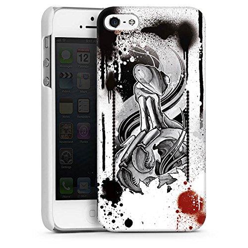 Apple iPhone 5 Housse étui coque protection Tatouage Rock n Roll Style CasDur blanc