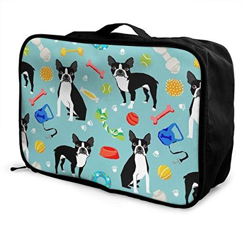 Gepäckträgertaschen,Gepäck Reisetasche,Fashion Casual Foldable Lightweight Large Capacity Portable Luggage Bag Waterproof Duffel Travel Storage Carry Tote Bag Boston Terrier Toys Dog Lightweight Carr -