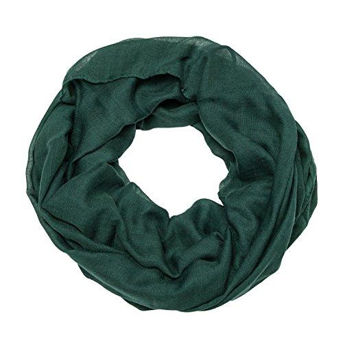 ManuMar Loop-Schal einfarbig | Hals-Tuch in Uni-Farben | einfarbig Dunkel-Grün als perfektes Sommer-Accessoire | klassischer Damen-Schal - Das ideale Geschenk für Frauen (Schal Grün)