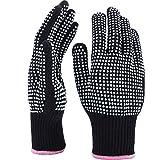 TecUnite 2 Stücke Hitzebeständige Handschuhe Silikon Rutschfeste Handschuhe für Haar Styling Lockenstab, Geeignet Alle Handgrößen (Weiße Silikon Punkt)