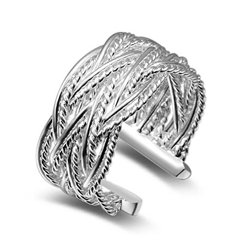 Price comparison product image Lumanuby Rings Silver Fashion Plating Finger jewelry Netting Rings OpenRing size adjustable