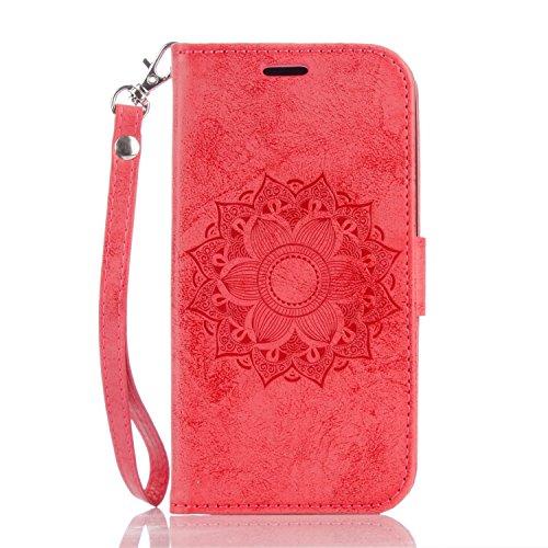 Pour étui LG K10, étui en cuir estampé en forme de girolet en forme de tournesol en cuir de luxe en cuir avec housse en cuir et en argent sterling ( Color : Brown ) Red