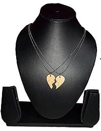Gadget Deals Couple Heart Metal Pendant Silver Alloy Chain For Women & Men