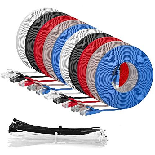 MultiKabel Flachbandkabel 5m CAT6 RJ45 Ethernet Lan NetzwerkKabel Patchkabel flach - 'Mehrfarbige 10er Pack' 5 meter + 15 Kabelbinder