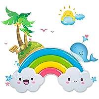 HJHGE Regali di natale Creative Sound spia di controllo rilevamento di controllo plug-camera bambini infant posto letto Lampada led risparmio energetico piccola luce notturna, Rainbow Island