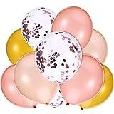 Jovitec 40 Stück 12 Zoll Rosa Gold Ballon, Gold, Champagner Gold und Konfetti Ballon für Hochzeit Geburtstag Party Dekoration