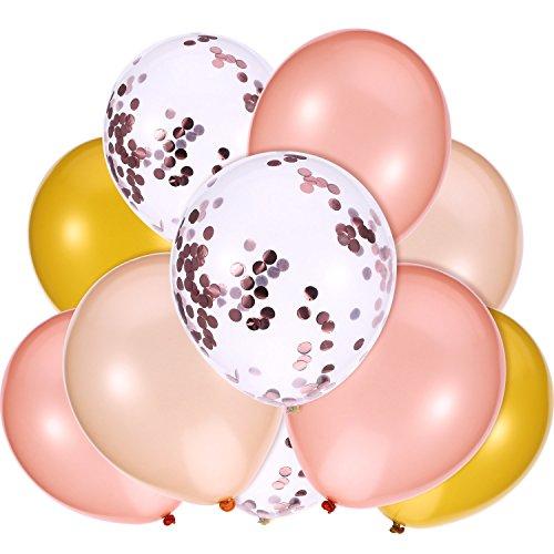 Zoll Rosa Gold Ballon, Gold, Champagner Gold und Konfetti Ballon für Hochzeit Geburtstag Party Dekoration (Rosa Und Schwarze Ballons)
