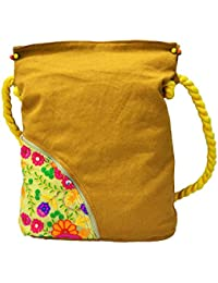 MeSleep Yellow Embroidered Pocket Canvas Travel Tote/ Sling Bag