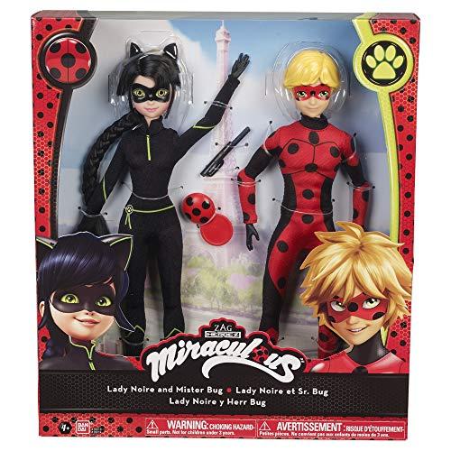 Prodigiosa: Las aventuras de Ladybug- Pack de 2 muñecas: Ladynoir y Mister Bug, Color (Bandai 39814)