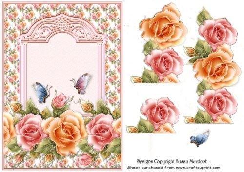 Roses & decoupage-no cartolina di Susan Murdoch