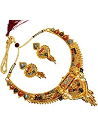 Mansiyaorange One Gram Gold Nd Rodium Original Real Look Party Wedding Wear Golden Necklace Sets For Women