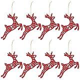 DomoWin Palline di Natale, Palline per Albero di Natale Palle Sfere Addobbi Albero di Natale Palline Addobbi Natalizie Palline (8 Pezzi Cervo Rosso)