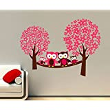 DreamKraft Cute Owl Sitting On The Tree Branch Wall Sticker Decal For Living And Kids Room Decor (PVC Vinyl,121cmx86cm)