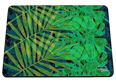 hippowarehouse tropischen Dschungel Blätter bedruckt Mauspad Zubehör Schwarz Gummi Boden 240mm x 190mm x 60mm, grün, Einheitsgröße