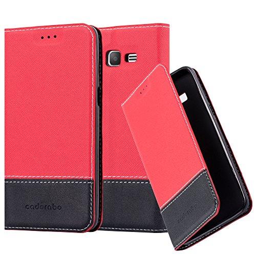Cadorabo Funda Libro para Samsung Galaxy Grand Prime en Rojo Negro - Cubierta Proteccíon con Cierre Magnético, Tarjetero y Función de Suporte - Etui Case Cover Carcasa