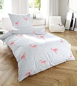 PRIMERA Soft Seersucker Bettwäsche Grau mit Flamingos 135×200 + 80×80 cm