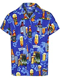 5ef96108f Mens Hawaiian Shirt Short Sleeve STAG Beach Holiday Beer Bottle Design  Fancy Dress Hawaii - All