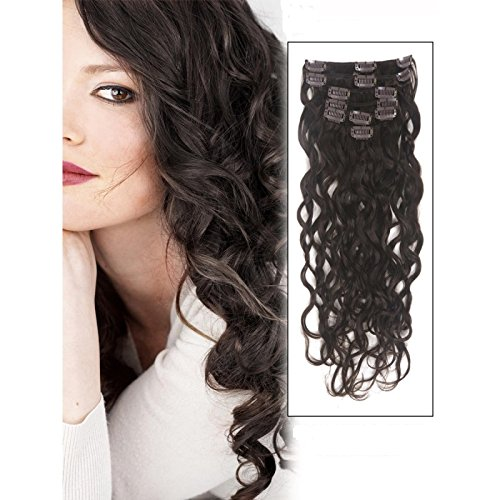 Artifice 6 Pcs 14 Clips Based 22 inch Curly/Wavy High Temperature Synthetic Fibre Hair Extension Dark Brown