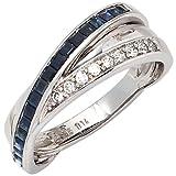 Ring mit Saphir blau & 9 Diamanten Brillanten 585 Weißgold Goldring Damen, Ringgröße:Innenumfang 58mm ~ Ø18.5mm