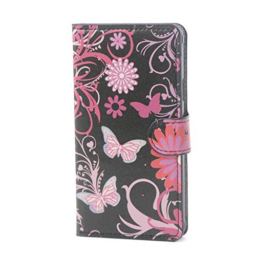 Yakamoz PU Leather Black Flower Butterfly Flip Wallet Card Slots Stand Case Cover for Samsung Galaxy Grand Prime G530H with Free Screen Protector & Stylus Pen  available at amazon for Rs.2999