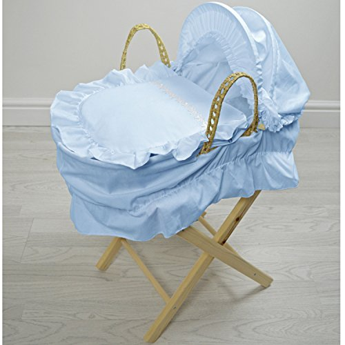 Broderie Anglaise Dolls Moses Basket Butterfly Blue