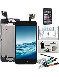 """Kit di Riparazione Vetro Schermo Per iPhone 6 (4,7)"""" Nero Ricambio Completo LCD Display - Trop Saint® con Pellicola Protettiva"""