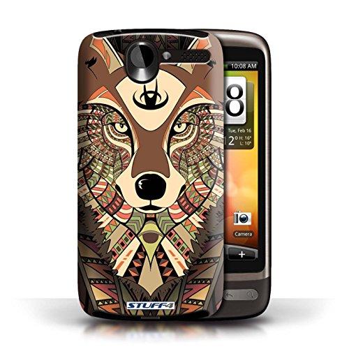 Coque de Stuff4 / Coque pour HTC Desire G7 / Loup-Bleu Design / Motif Animaux Aztec Collection Loup-Sépia