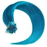 Türkise Bonding Extensions aus 100% Remy Echthaar - 50 x 0,5g 45cm Glatte Strähnen - Lange Haare mit Keratin Bondings U-Tip als Haarverlängerung und Haarverdichtung in der Farbe türkis