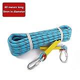 Kletterausrüstung Nylon hitzebeständiges Antiblockier-Leistungsseil, 8 mm Durchmesser verschleißfeste wasserdichtes lebensrettendes Seil, statische Spannung 1600kg Kletterseil ( Color : 60m-8mm )