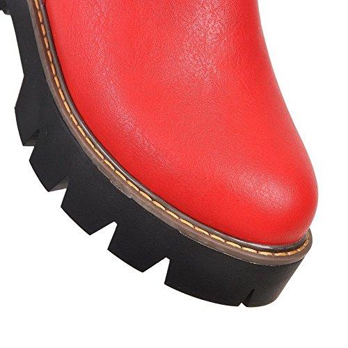 VogueZone009 Damen Reißverschluss Rund Zehe Mittler Absatz Stiefel mit Schnalle Rot y5xodoM
